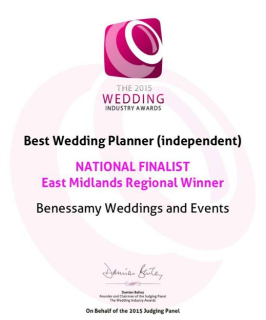 Best wedding planner in the East Midlands - The Wedding Industry Awards 2015